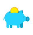 pig piggy bank and coin financial accumulation vector image vector image