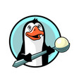 pinguin with ice cream vector image vector image