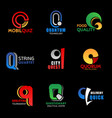 q letter business icons design and font isolated vector image vector image