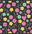 seamless pattern handmade knitted flowers and vector image vector image