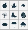 seasonal icons set with maple rain apple pie and vector image vector image