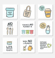 set hand drawn cards with zero waste life and vector image vector image