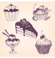 set hand drawn desserts vector image vector image