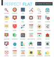 set of flat network technology icons vector image