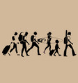 silhouettes of tourists walking carrying vector image vector image