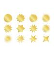 starburst sticker set golden sunburst badges in vector image vector image
