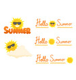 sun wearing eyes glasses collection icon sign set vector image