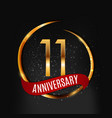 template gold logo 11 years anniversary with red