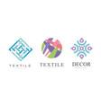 textile logo design set decor business logo vector image vector image