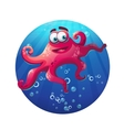 Underwater cartoon comic octopus in ocean vector image vector image