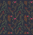 vintage and trendy seamless pattern flowers vector image