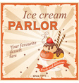 vintage banner ice cream parlor vector image