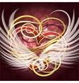 Winged heart vector image vector image