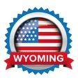 Wyoming and USA flag badge vector image