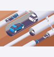 3d isometric modern underground tunnels