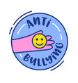 anti bullying banner or icon human hand holding vector image vector image