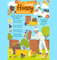 beekeeper at apairy poster with beekeeping farm vector image vector image