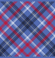blue check plaid pixel fabric seamless texture vector image vector image