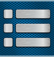 blue metal perforated texture with rectangle and vector image vector image