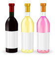 bottles of wine red white and rise wine vector image