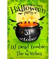bright green halloween party poster template vector image vector image