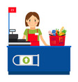 cashier woman and shopping cart vector image vector image