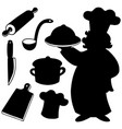 chef silhouettes collection vector image vector image