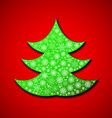 Christmas paper tree made of random snowflakes vector image vector image