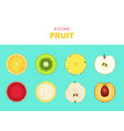 collection of sliced fruit vector image