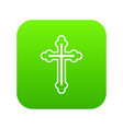 crucifix icon digital green vector image