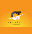 ct c t letter modern logo design with yellow vector image vector image