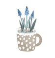 cute mug with blue grape hyacinth quail eggs and vector image vector image