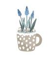 cute mug with blue grape hyacinth quail eggs vector image vector image