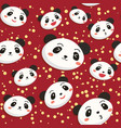 cute panda head seamless pattern red vector image