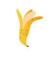 cute ripe banana funny fruit cartoon character vector image vector image