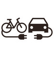 electric car and electric bike icon vector image vector image