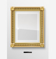 empty classic portrait painting in gold frame vector image vector image