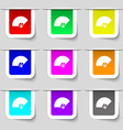 Fan icon sign Set of multicolored modern labels vector image vector image