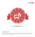 firefighters truck icon - red ribbon banner vector image