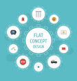 flat icons camera lock safe and other vector image vector image