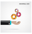 Geometric gears with businessman hand vector image vector image