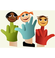 Hand puppets with children vector image