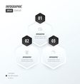 Hexagon infographic 2 color black and White vector image
