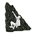 hiker climbing mountain hiking cartoon graphic vector image