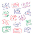 Icons city passport stamps world travel