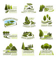 landscape design company icon with green tree vector image vector image