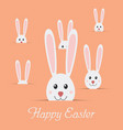 many easter rabbits with text happy easter isolate vector image
