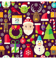 Merry Christmas Flat Design Brown Seamless Pattern vector image vector image