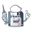 nurse floppy disk isolated with a mascot vector image vector image