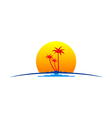palm tree sunset tropic travel logo vector image vector image